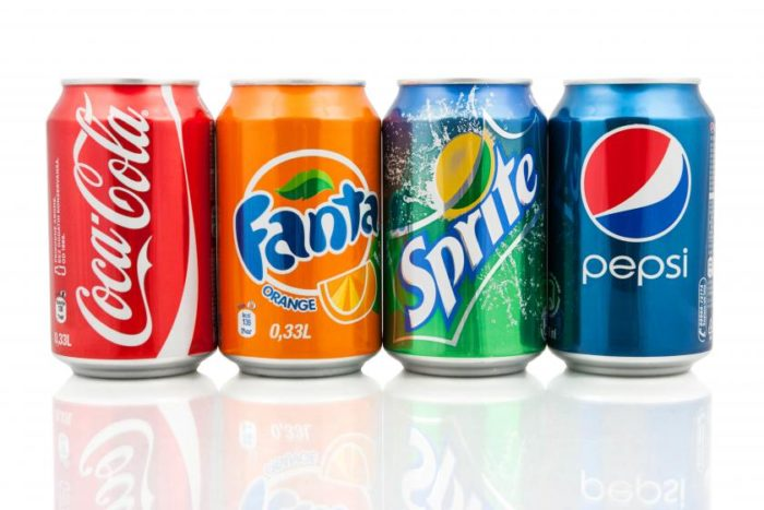 Cans of sodas