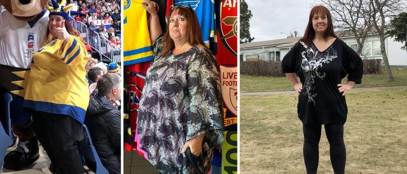 collagebild med kvinna som gått från överviktig till normalviktig
